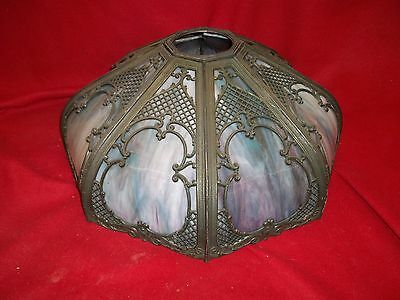Antique Lighting  Lamp ~ Art Deco ~ Leaded Stained Glass ~ Bent Panel