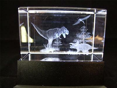Solid Glass Crystal Laser Block and White Light Box Two Dinosaurs.