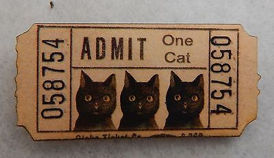 Black Cat Lost Ticket Brooch or Scarf Pin Wood Accessories Vintage Style NEW