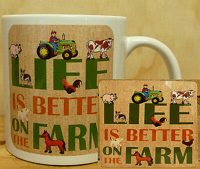 300ml COFFEE MUG WITH MATCHING COASTER - LIFE IS BETTER ON THE FARM