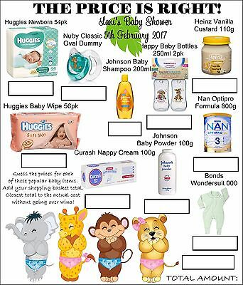 Baby Shower Price is Right Game x 10 - personalised