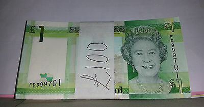 JERSEY £1 PACK OF 100 x UNCIRCULATED  ONE POUND NOTES CONSECUTIVE NUMBERS