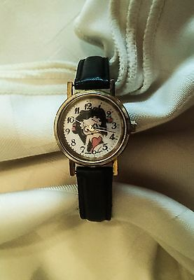 Betty Boop Wrist Watch Black Leather Buckle Band Small to Med. wrist