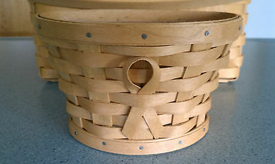 Longaberger 2007 Horizon of Hope SIGNED warm brown basket with protector NEW