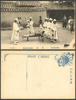 Korea Old Postcard Korean Corporal Punishment, CANING Whipping Prisoner Buttocks