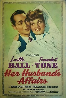 ORIGINAL 1947  HER HUSBAND'S AFFAIRS  MOVIE POSTER   Lucille Ball  Franchot Tone