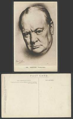Mr. Winston Churchill Sketch WW2 Monis J Kallers Artist Signed 1943 Old Postcard
