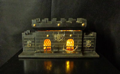 Vintage 70's S. Sper Bijou Wooden Castle Liquor Chest with Amber Decanters