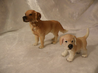 Schleich Farm World Lot Of 2 Dogs Golden Retiever And Puppy Very Nice