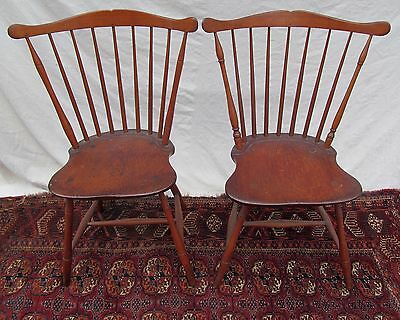 19Th C Pair Of Rare Federal Period Antique Windsor Fan Back Chairs