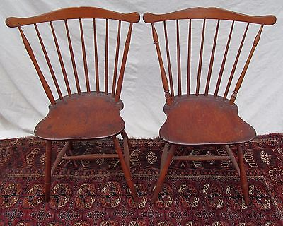 Remarkable Pair Of Rare Federal Period Windsor Fan Back Chairs