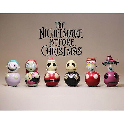 6pce Disney Set Nightmare Before Christmas Jack Sally Lock Barrel 4cm PVC Figure