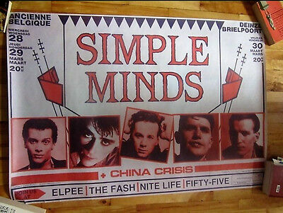 SIMPLE MINDS AND CHINA CRISIS ORIGINAL BELGIUM PROMO CONCERT POSTER 80's