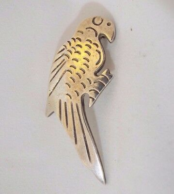 "Vintage Sterling Silver Mexico Parrot Bird Figural Pin Brooch 1 7/8"" Long"