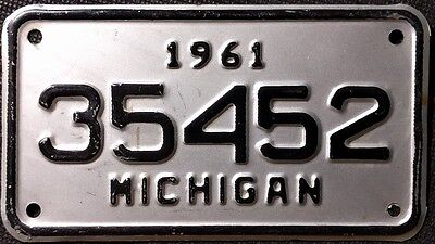 Vintage 1961 Michigan Motorcycle License Plate Old Bike Harley Davidson Mancave