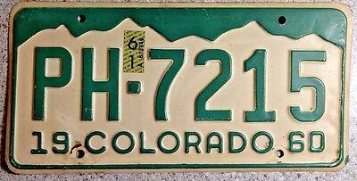1960 Colorado License Plate Number Tag # PH 7215 Arapahoe County