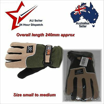 Green Full Finger Gloves Soft Warm Polyester Mens Small Medium bicycle hiking