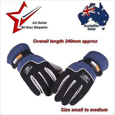Blue Full Finger Gloves Soft Warm Polyester Mens Small Medium  hiking bicycle