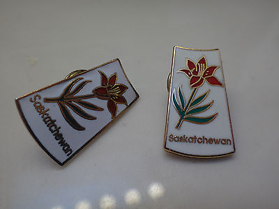 Province of Saskatchewan Canada Red Prairie Lily Flower Map Collectible Pin