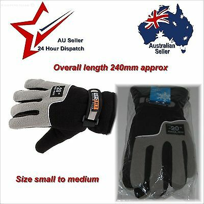 Black Full Finger Gloves Soft Warm Polyester Mens Small Medium  hiking camping