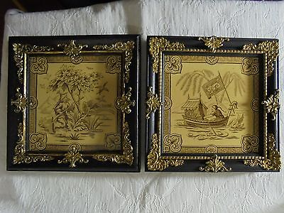 Pair Of Antique Minton And Hollins Framed Chinoisserie Tiles 1863