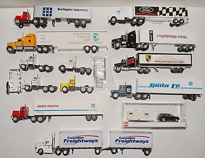 12 HO scale trucks & trailers + car with camper. See photos & read text  LOT 14
