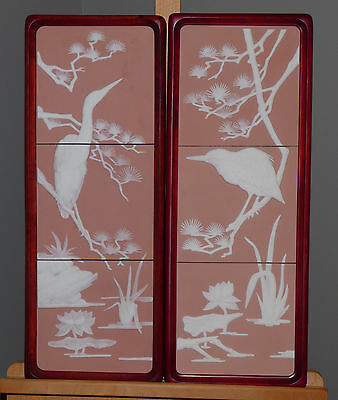 George McMonigle Tranquil Waters Pair Framed Parian Tile Plaques Franklin Mint