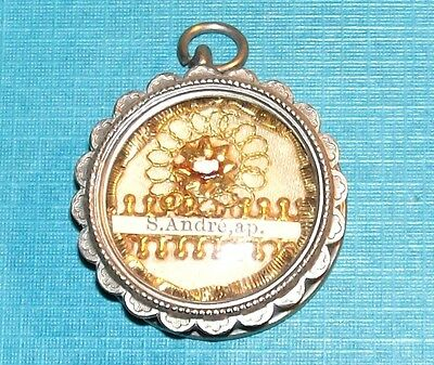Antique Saint Andrew Apostle First Class Relic Silver Tone Theca No Document Old