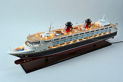 "Disney Magic Cruise Ship Handmade Wooden Ship Model 48"" with lights NEW"