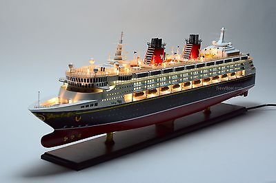 "Disney Wonder Cruise Ship Handmade Wooden Ship Model 48"" with lights NEW"