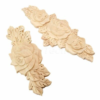 Unpainted Retro Wood Carved Long Rose Flower Door Decal Onlay Applique 1/4pcs