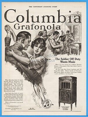 1918 Columbia Grafonola Graphophone Phonograph Soldier Off Duty Music WWI Ad