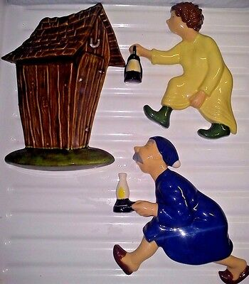 """Rare Vintage Arnel's Ceramic """"Race to the Outhouse"""" Wall Plaques/Hangings"""