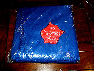 "Salvation Army Dark Blue Fleece Throw Blanket 20""x30"" NEW in Package Christian"