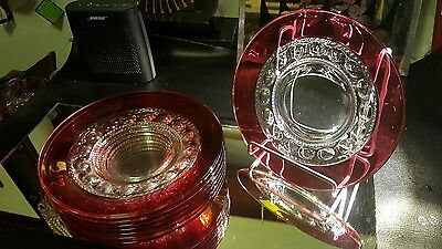 """Indiana Tiffin Kings Crown Thumbprint  Ruby Flashed 8 1/4"""" Salad Plate set of 8"""