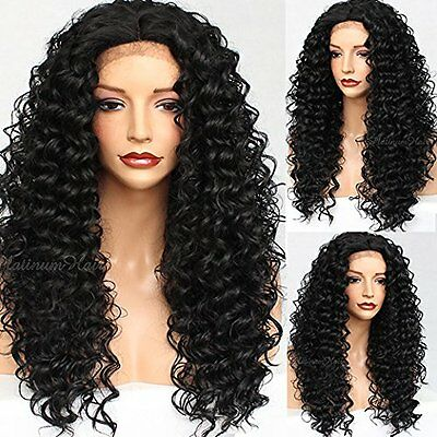 Fashion Women's Lace Wig Long Black Curly Wavy Synthetic Hair Heat Resistant
