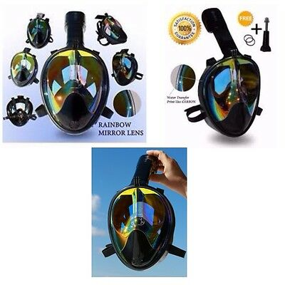 Full Face Mask For Snorkel- Easy Breath- 180⁰ Panoramic Seaview- Rainbow Mirro