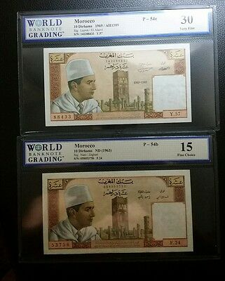 Morocco 10 dirhams 1963 and 1969 lot of two