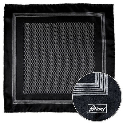 Mens BRIONI Black Gray Spiral Silk Hand Rolled Pocket Square Handkerchief Hanky