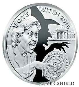 Silver shield hilery vote witch double obverse proof very rare