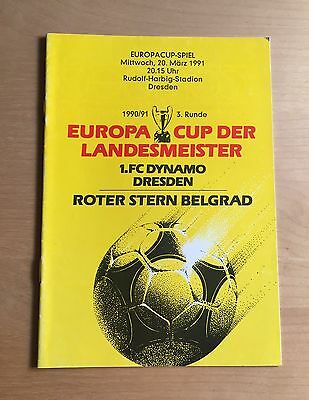 1990/1991 European Cup : Dynamo Dresden v Red Star Belgrade 20/3/1991