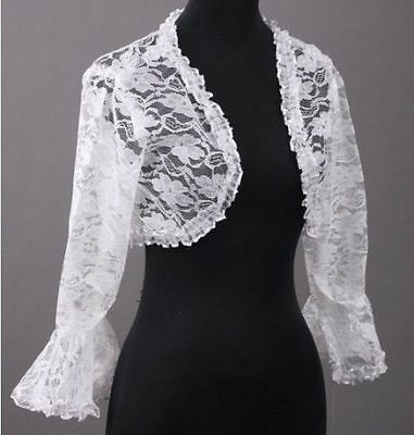 Wedding Bridal Shrug Jacket Lace Floral White Bolero Shawl  Brand New - from UK