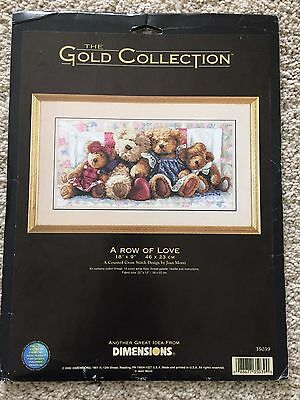 Counted Cross Stitch Chart Only. Dimensions - A Row of Love. Cute Teddy Bears
