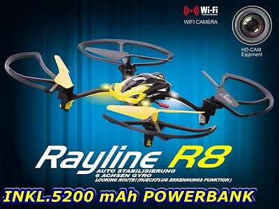 R8 WIFI RC Quadrocopter Drohne 4-Kanal Handyhalterung 5200mAh Power Bank