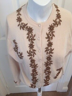 True Vintage Fifties 50's Gold Metallic Beaded Pearl Button Cardigan Beautiful