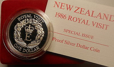 New Zealand 1986 Royal Visit silver $1 Proof coin (.8oz)