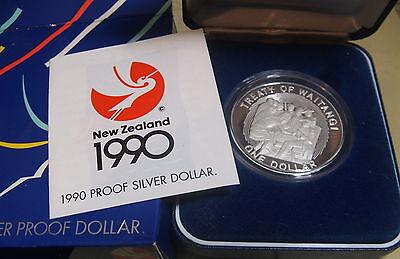 New Zealand 1990 Waitangi Silver  Proof $1 coin