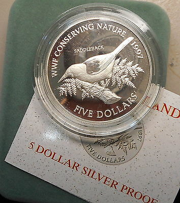 New Zealand 1997 Saddleback - Bird Silver Proof $5 coin Nice