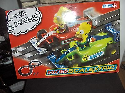 Micro Scalextric 1:64 Scale The Simpsons Grand Prix Race Set bnib