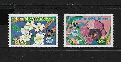 MALDIVE ISLANDS, Maldives - mint 1984 Ausipex 84, Flowers, set of 2, MNH MUH
